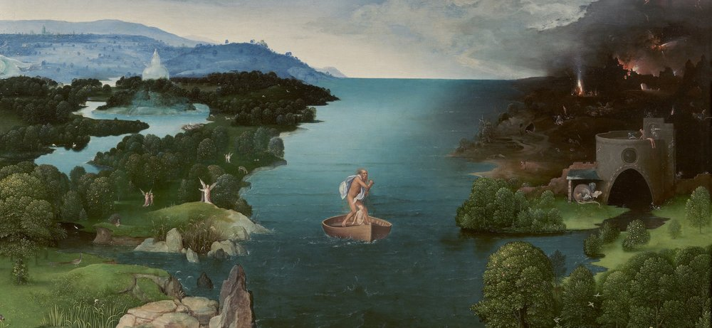 Charon Crossing the Styx  (main portion), by Joachim Patinir, c 1515-24, Prado Museum, Madrid (Wikimedia Commons)