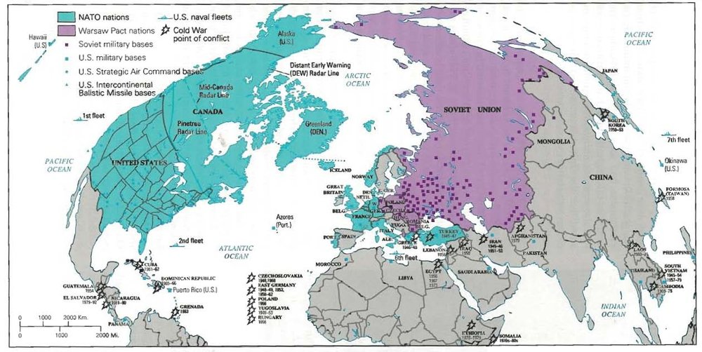 The following map shows the Cold War from the spatial perspective of the North Atlantic. An analysis of this map can be found  here .