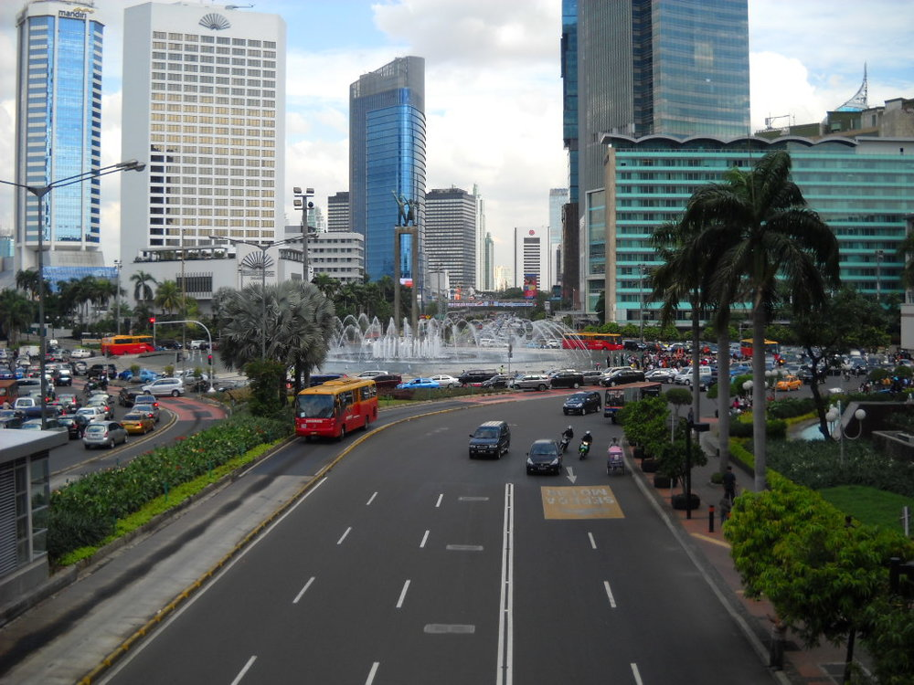 "Bundaran HI  (""Hotel Indonesia Roundabout"") with Hotel Indonesia on the right"