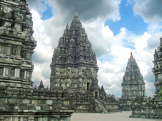"""Shiva temple, the main temple at Prambanan temple complex rising 47m high [...] This ninth century temple complex was build by Hindu Mataram Kingdom"" [Java, Indonesia] (Gunkara, Wikimedia Commons)"