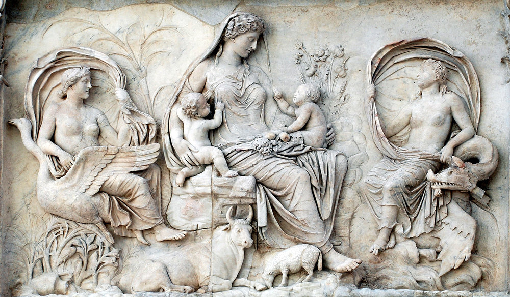 """The """"Tellus"""" panel of the Ara Pacis (Altar of Augustan Peace), 9 BC, in the Museum of the Ara Pacis, Rome"""