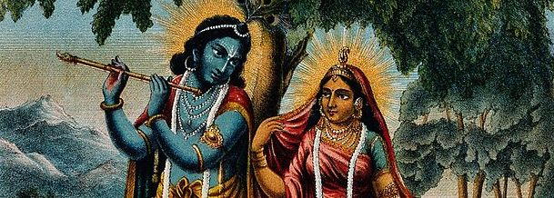 Krishna with Radha, from Wellcome Images (Wikimedia Commons)