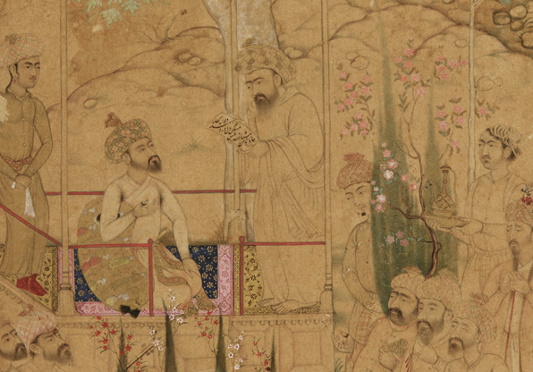 Emperor Babur with attendants in a garden, miniature, c. 1605, source: Arthur M. Sackler Gallery (Wikimedia Commons)