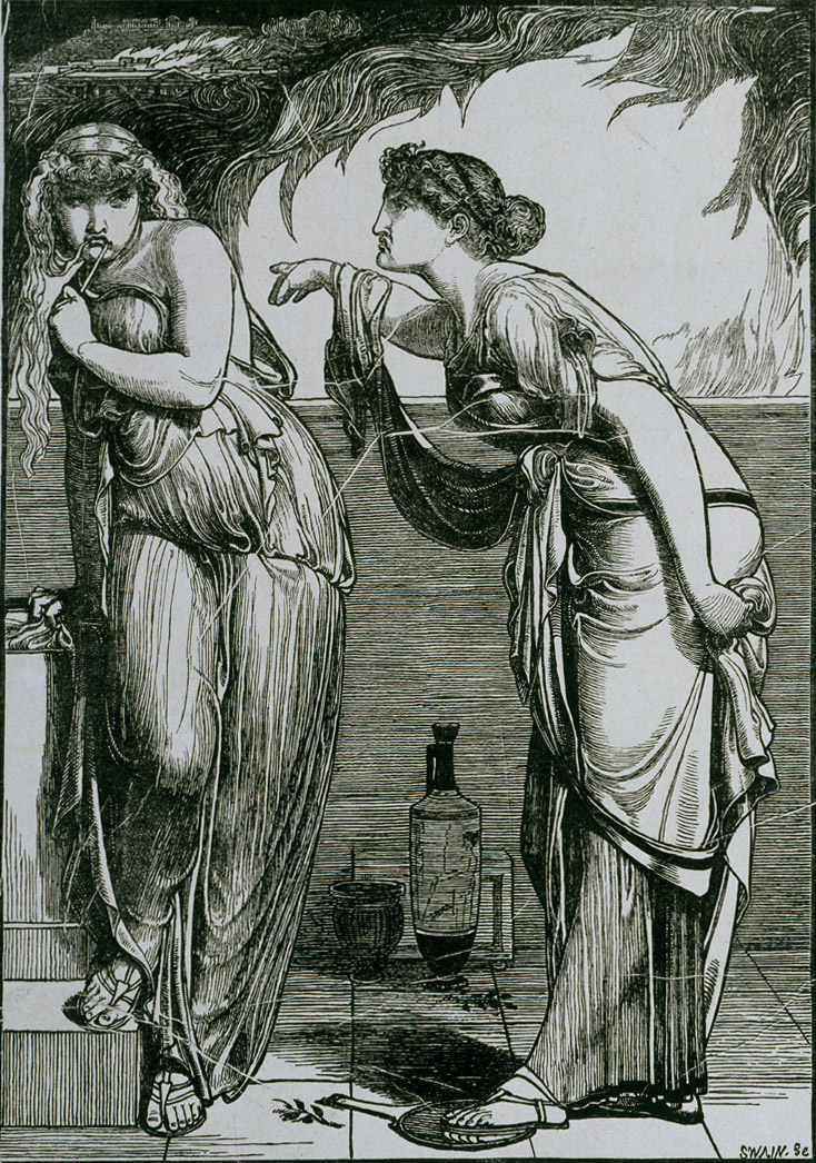 "Helen and Cassandra  (1866) by Frederick Sandys. ""This image accompanied a poem based on the Greek myth in which Cassandra admonishes Helen of Troy for her role in bringing about the Trojan War"" (from Wikimedia Commons; source: prerapph.org)."