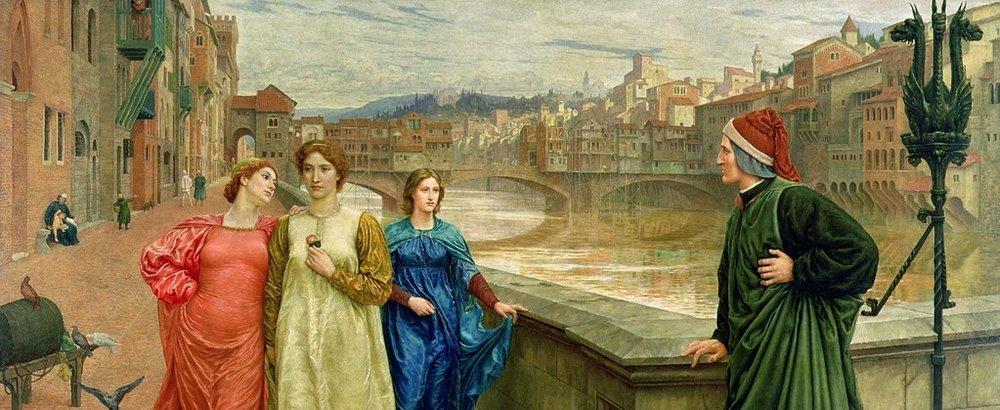 Dante Meets Beatrice at Ponte Santa Trinità , by John Holiday, 1883 (Wikimedia Commons)