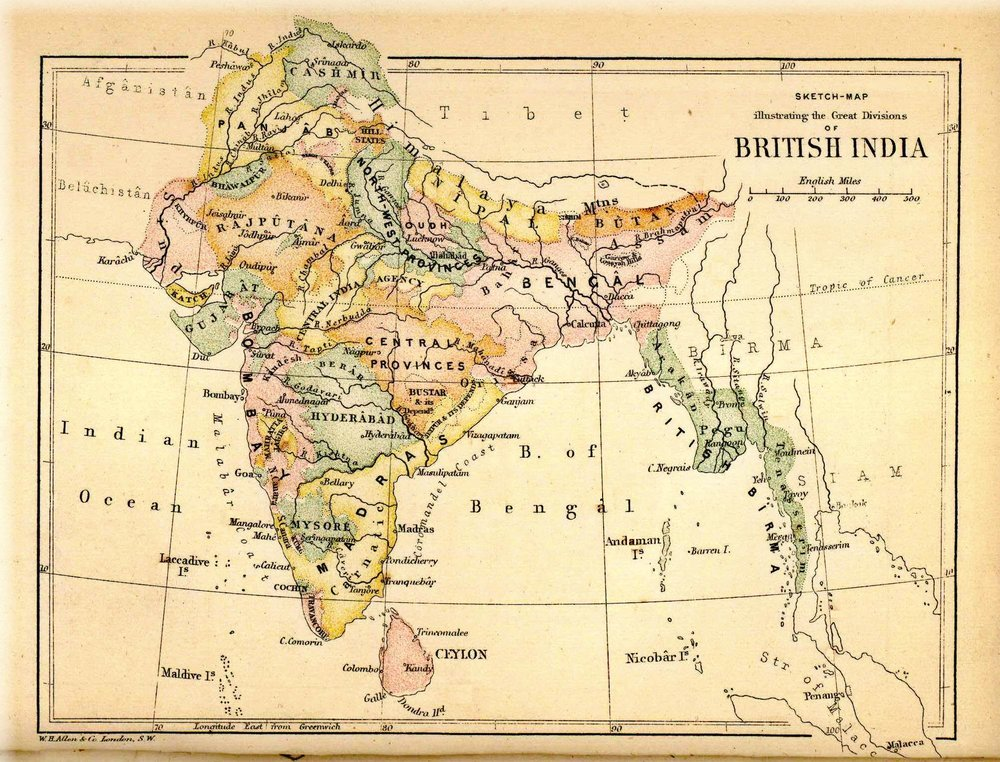 "From Wikimedia Commons: Map of ""British India"" (in this case, actually the ""Indian Empire"") from Pope, G. U. (1880),  Text-book of Indian History: Geographical Notes, Genealogical Tables, Examination Questions , London: W. H. Allen & Co. Pp. vii, 574, 16 maps. Scanned from personal copy and uploaded by  Fowler&fowler  «Talk»  16:01, 28 February 2009 (UTC)"