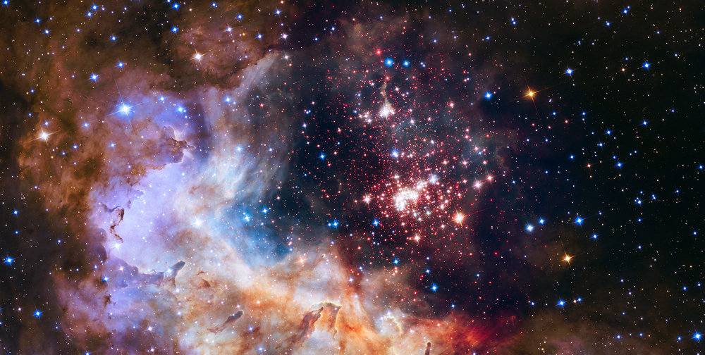 NASA Hubble team image of the Carina constellation at a distance of 20,000 light years (from http://hubblesite.org/image/3519/news_release/2015-12)