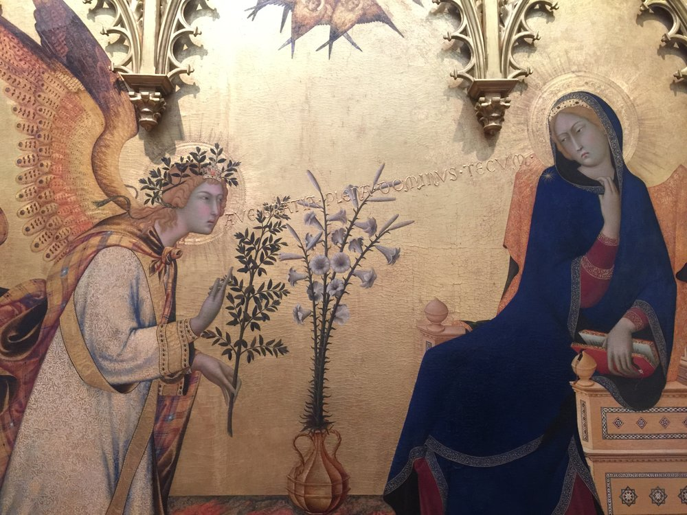 Annunciation , 1333, Simone Martini and Lippo Memmi, Uffizi Gallery