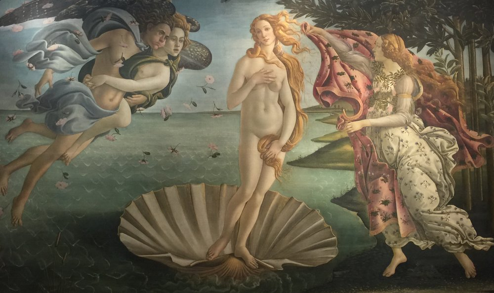 The Birth of Venus , c. 1485, Botticelli, Uffizi Gallery