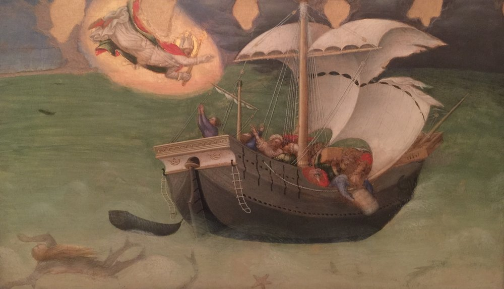 The Saint  [Nicholas of Bari]  Saves a Boat from Shipwreck , Gentile da Fabriano, 1425 (Vatican Museum, photo RYC)