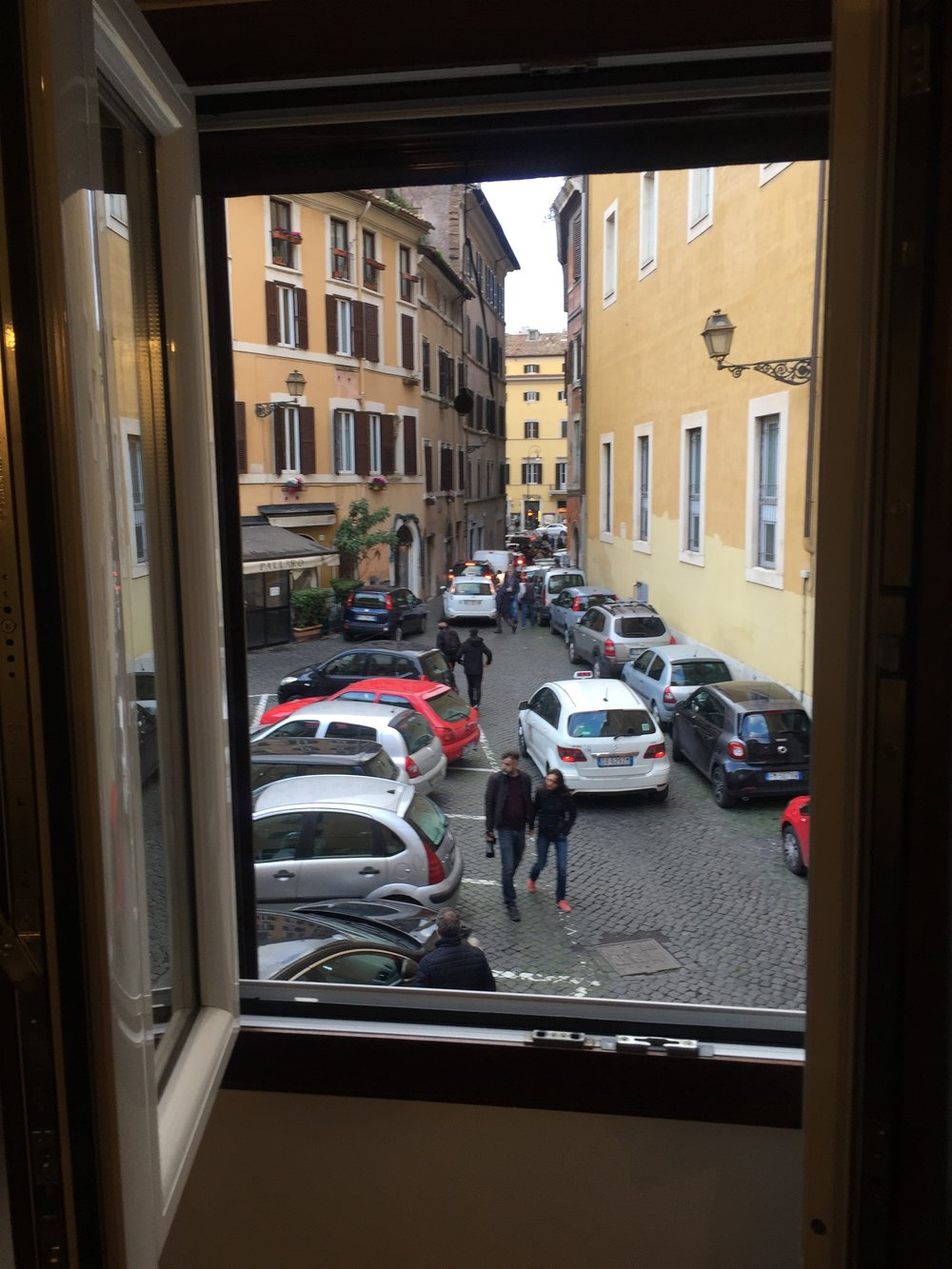 Our room with a view of the street, one block from Campo de' Fiori