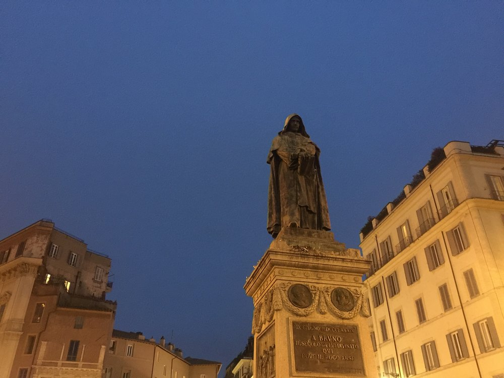 The statue of Giordano Bruno, who was burnt at the stake in 1600 because he argued that stars were distant suns and that space went on forever