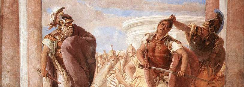 The Rage of Achilles , fresco by Giovanni Battista Tiepolo (1757, Villa Valmarana ai Nani, Vicenza) From Wikimedia Commons. Angered by Hector's killing of Patroclus (Achilles' cousin/friend/lover), Achilles enters a rage, kills Hector, then drags his body disrespectfully through the dirt.