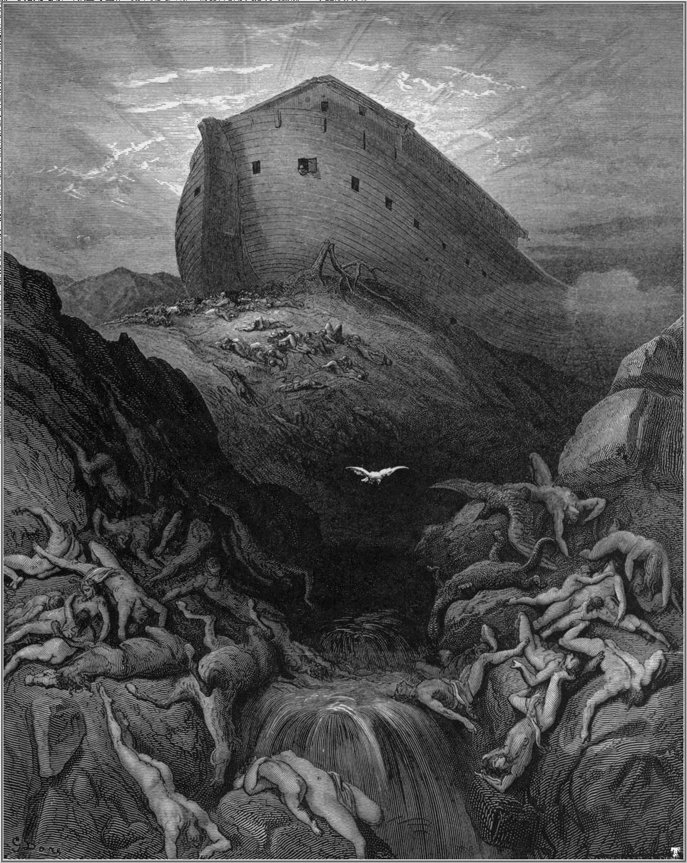 A Dove Is Sent Forth from the Ark  (Gen. 8:1-13), from  Doré's English Bible  (1866), by Gustave Doré. From Wikimedia Commons.
