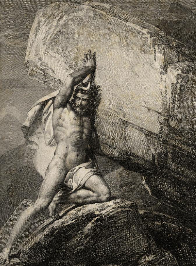 Matthäus Loder: Sisyphus, Kupferstich; 1. H. 19. Jh., gestochen von Friedrich John, 19th Century (Wikimedia Commons)