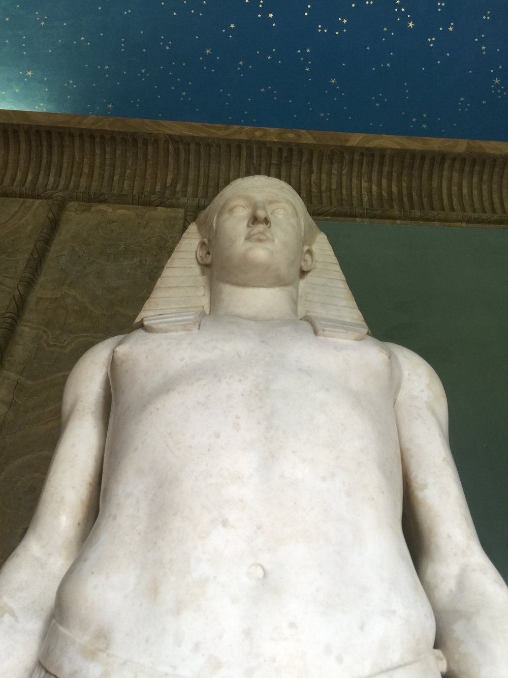 Statue of Osiris-Antinous, 131-8 BC, from Hadrian's Villa, Tivoli. Hadrian's lover Antinous was deified by the emperor after his death — hence the hyphen linking him to Osiris, the Egyptian god of the afterlife.