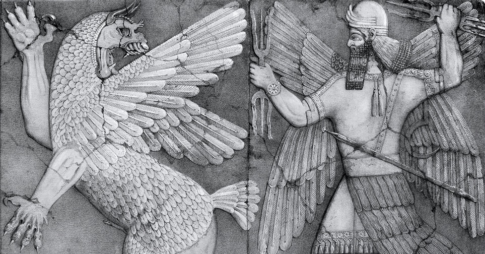 Chaos Monster and the Sun God, Nineveh, in the British Museum (Wikimedia Commons)