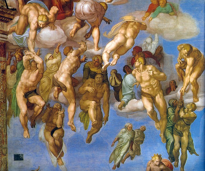 Detail from Michelangelo Buonarroti's  Last Judgment , 1537-41, Fresco, Cappella Sistina, Vatican (Wikimedia Commons)