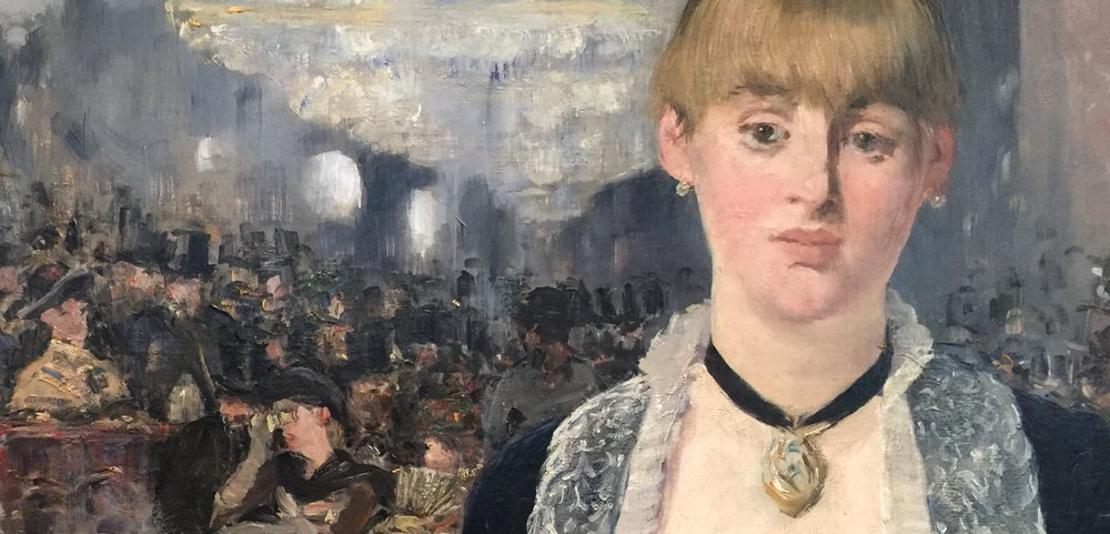 Detail from  A Bar at the Folies Bergère , Eduard Manet, 1881-2, in the Courtauld Institute of Art, London (photo by RYC)