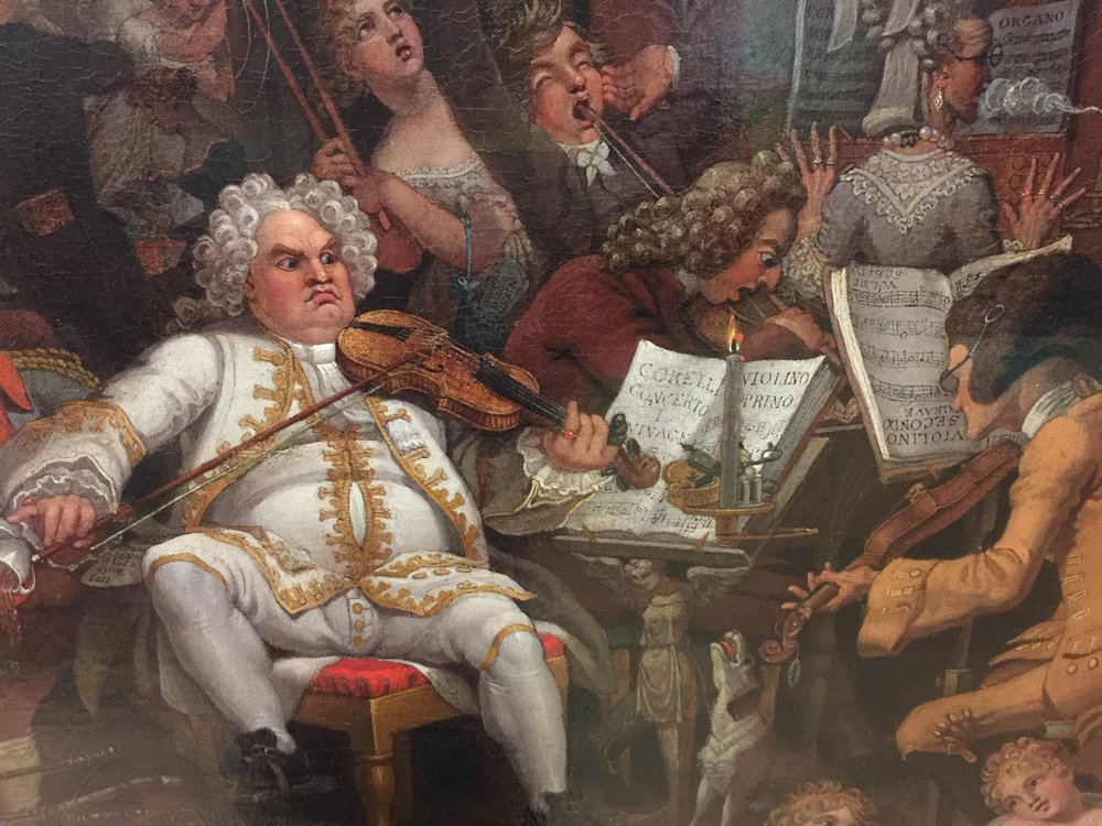 "Above: a detail from a painting by Edward Burney, called ""Amateurs of Tye-Wig Music,"" c. 1820, from the Tate Museum, London (photo RYC); below: Freddy Mercury and Elvis Presley (from Wikipedia Commons)."