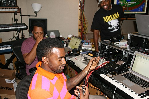 """Kanye West working in the studio, from Jacksonville (photo by  Angel Laws ) (Wikimedia Commons)"