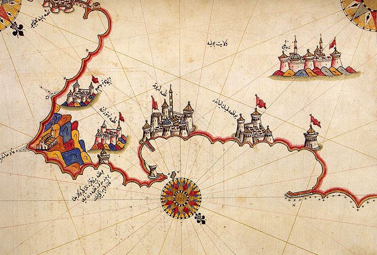 Historic map of Otranto - from Ahmed Muhiddin Piri's  Book of Navigation , 1521-5 (Wikimedia Commons)