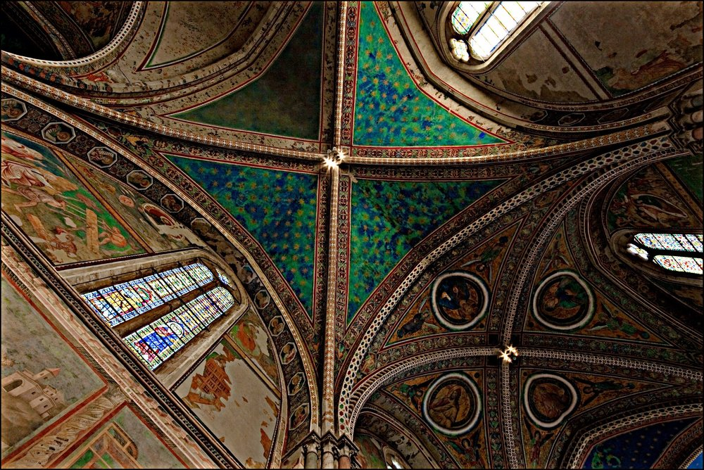 Photo (turned clockwise) of the ceiling of the Upper Basilica of Saint Francis, Assisi. Photo by permission of the photographer, Nadia d'Agaro — at https://www.flickr.com/photos/nadiadagaro/. This photo can be found in her album on Umbria — at https://www.flickr.com/photos/nadiadagaro/albums/72157627135961005. Grazie, Nadia!