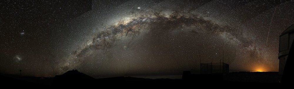 Above:  The Milky Way arch emerging from the  Cerro Paranal , Chile, on the left, and sinking into the Antofagasta's night lights, 3 December 2009, author: Bruno Gilli/ESO source at  ESO (European Southern Observatory) . Below: Cropped view of the southern plane of the Milky Way, from the ATLASGAL survey, 24 February 2016, author: ESO/APEX/ATLASGAL, consortium/NASA/GLIMPSE, consortium/ESA/Planck — at  ESO .