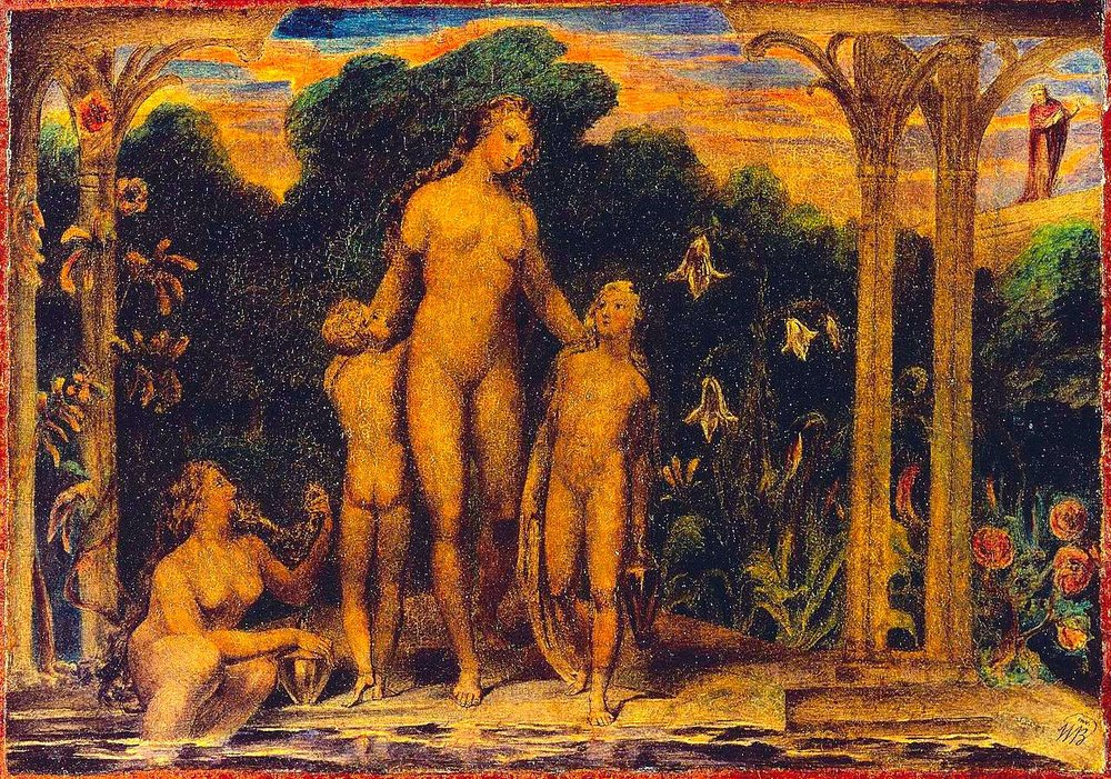 William Blake's  Bathsheba at the Bath,  c. 1799-1800 (colour heightened by RYC, from Wikimedia Commons)