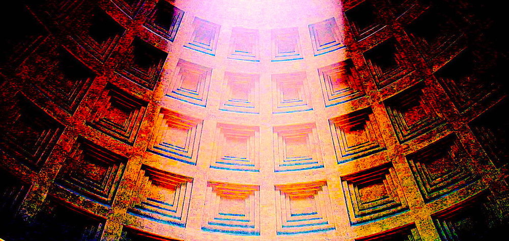 Beam in the dome of the Pantheon (clipped and coloured by RYC), 22 May 2011, by Владимир Шеляпин, Wikimedia Commons