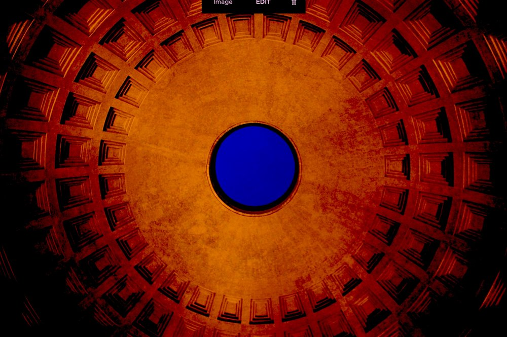 Roman Pantheon, dome by night (darkened by RYC), 28 January 2010, by Frokor, Wikimedia Commons