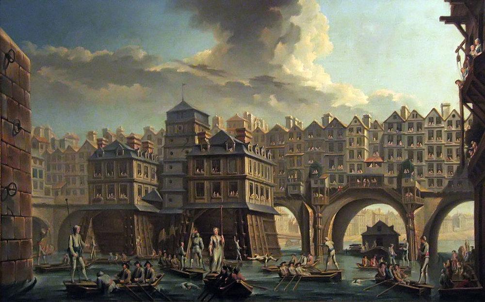La joute des mariniers, entre le pont Notre-Dame et le Pont-au-Change (1756) Peinture de Nicolas-Jean-Baptiste Raguenet Musée Carnavalet (Wikimedia Commons)