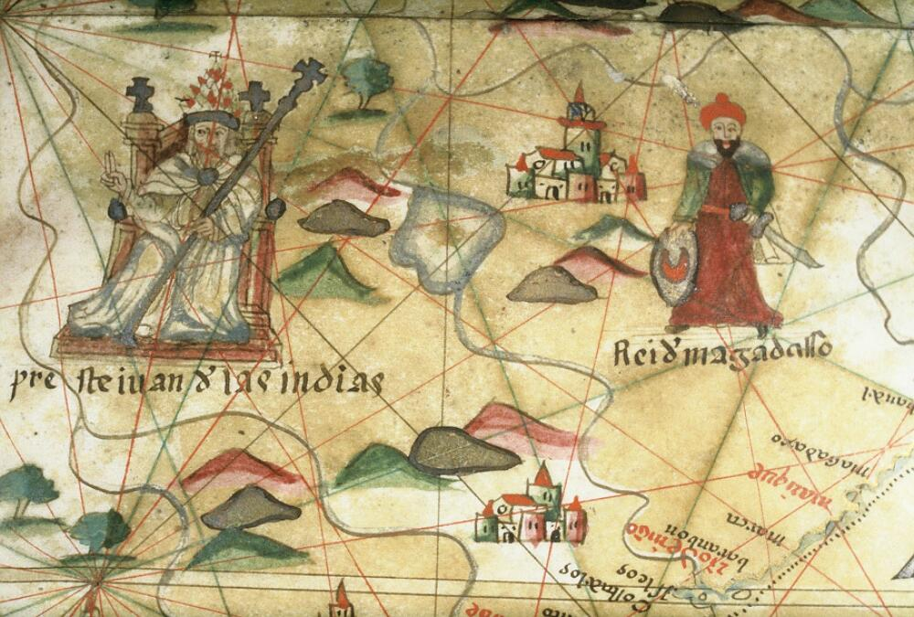 Prester John of the Indies. Close-up from a portolan chart, late 16th century. Unkown author, from Wikimedia Commons.
