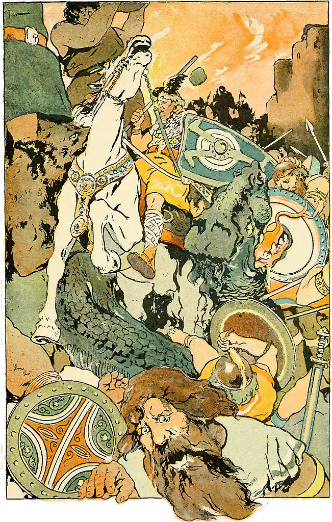 """""""Then the awful fight began"""". Illustrating Ragnarök. By George Wright , 1908 (Wikimedia Commons)"""