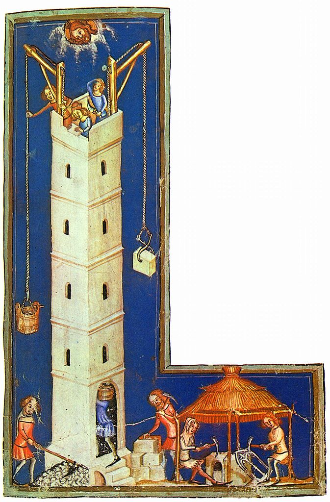 Weltchronik in Versen, Szene: Der Turmbau zu Babel, c. 1370, by Meister der Weltenchronik. In the Bayerische Staatsbibliothek. Source: The Yorck Project (2002)  10.000 Meisterwerke der Malerei  (DVD-ROM), distributed by DIRECTMEDIA Publishing GmbH. ISBN: 3936122202. (From Wikimedia Commons)