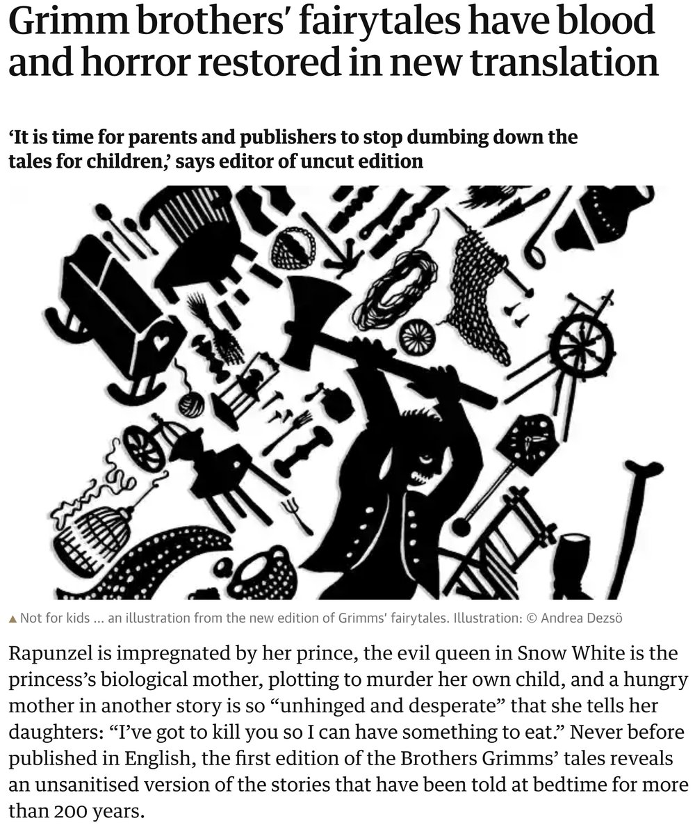 https://www.theguardian.com/books/2014/nov/12/grimm-brothers-fairytales-horror-new-translation. 2014 translation by Jack Zipes, reviewed in  The Guardian  (November 12, 2014) by Alison Flood.