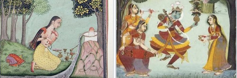 In the Hindu traditions,  raga  musical notes have personalities, and they are reverentially linked to gods and goddesses. Left is Bhairava-Bharavi pair (Shiva), right is Vasanta raga-ragini (Krishna). (From Wikimedia Commons)