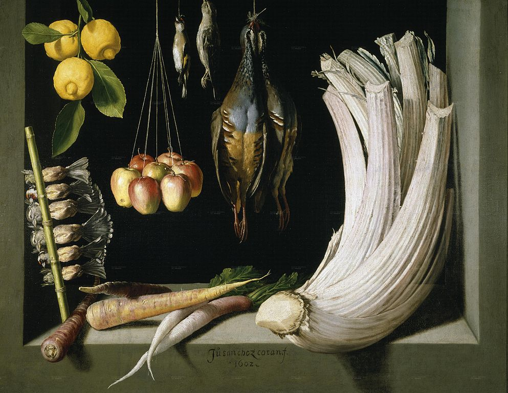 Still Life with Game Fowl, Vegetables and Fruits , 1602, by Juan Sánchez Cotán. In the Hernani Collection, Prado Museum, Madrid (Wikimedia Commons).