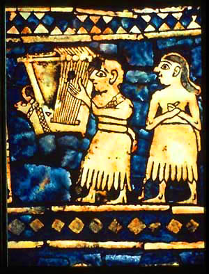 Lyres — from Ur (Mesopotamia), 2500 B.C. and from Greece, 5th C. B.C. (Wikimedia Commons)