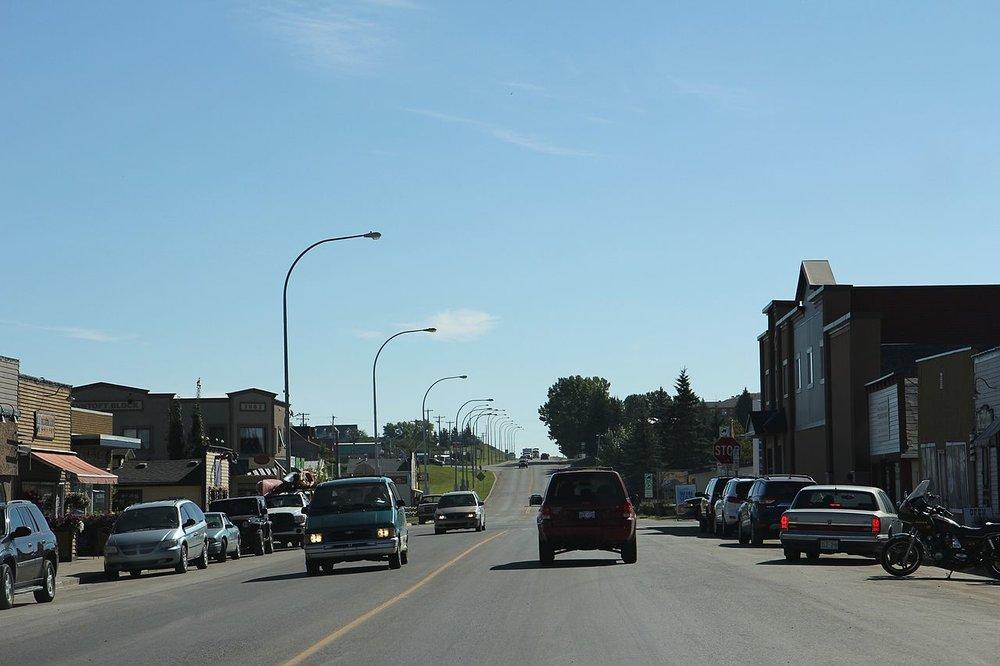 Downtown Black Diamond, Alberta on Alberta Highway 22. Photo by Royalbroil (Wikimedia Commons)