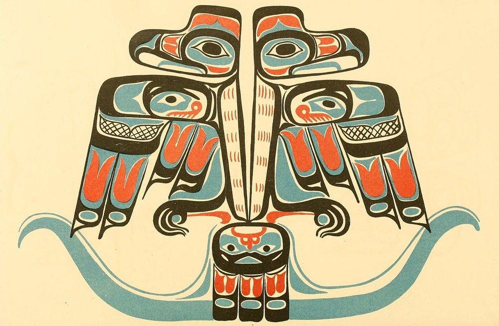 Haida double thunderbird 1880, Smithsonian Institution. Bureau of Ethnology (Wikimedia Commons)
