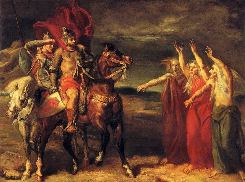 Macbeth and Banquo Meeting the Witches on the Heath,  by Theodore Chasseriau, 1819, in the Musée d'Orsay (Wikimedia Commons).