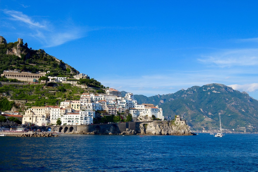 A view of Amalfi from the speedy ferry boat