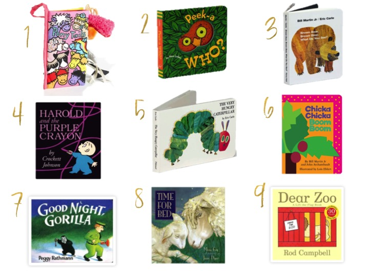 pony tails, peek-a-who?, brown bear, harold and the purple crayon, the very hungry caterpillar, chicka chicka boom boom, good night gorilla, time for bed, dear zoo, our favorite baby books, gifts, best gifts