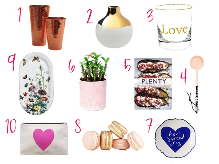copper cocktail shakers, gold rim vase, gold love cocktail glasses, plenty cookbook, heart pouch, macarons, west elm plates, best host gifts