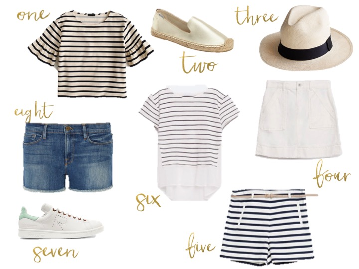 Jcrew striped shirt, soludos, zara white skirt, zara striped shorts, zara striped shirt, frame denim cut offs,ADIDAS ORIGINALS Raf Simons Stan Smith perforated leather sneakers