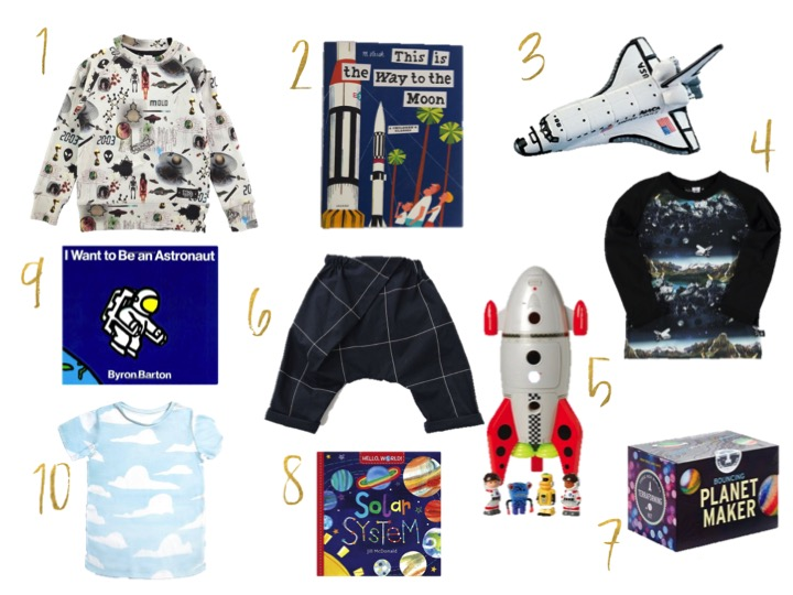 molo sweatshirt, This way to the Moon, space shuttle, I want to be an astronaut book, izzy ferd cloud t-shirt, cptoy  space mission rocket ship