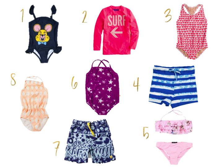 mini rodini, crew surf rash guard, stella cove berkeley bikini, noe and zoe swim suit,