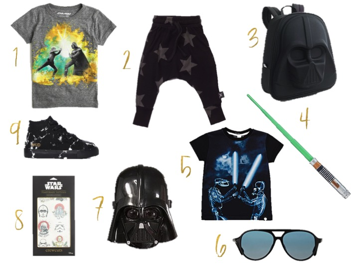 may the forth be with you, jcrew star wars tee shirt, nununu black star pants, jcrew star wars darth vader 3 D back pack, star wars light saber, akid anthony hi black marble canvas, molo kids x-ray graphic t-shirt, star wars temporary tattoos, darth vader mask, winkniks axel sunglasses