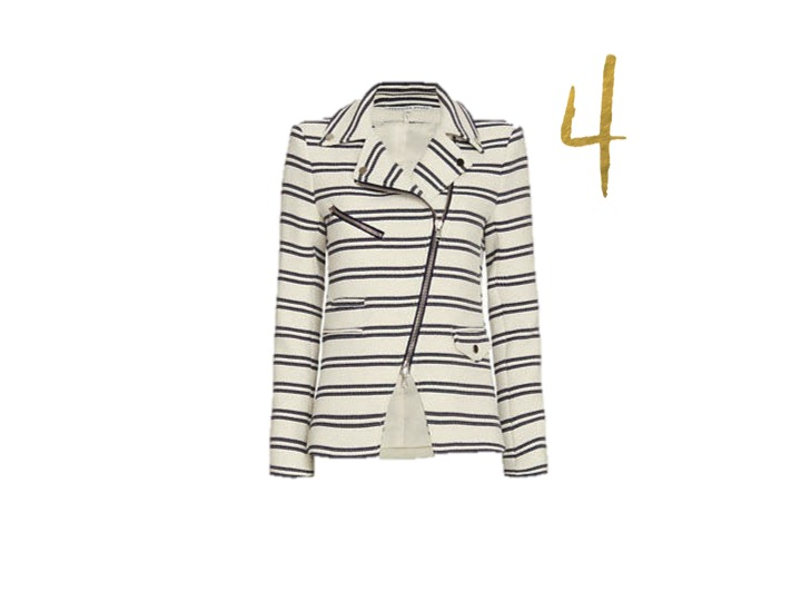 Veronica Beard Hadley Chevron Moto Jacket